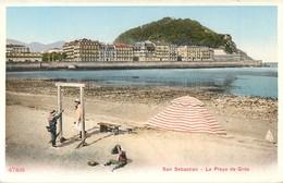 SAN SEBASTIAN LA PLAYA DE GROS ESPANA PHOTOCHROME 1900 ESPAGNE - Guipúzcoa (San Sebastián)
