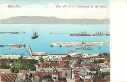 GIBRALTAR THE HARBOUR ENTRANCE TO THE PORT J. FERRY § COMPAGNY PHOTOCHROME 1900 - Gibraltar