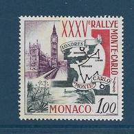 Timbres Neufs ** Monaco,.n°689 Yt, 35è Rallye Automobile De Monte-carlo, Carte Et Tracé Du Parcours, Londres, Big Ben - Monaco