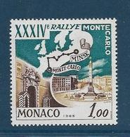 Timbres Neufs ** Monaco,.n°689 Yt, 34è Rallye Automobile De Monte-carlo, Carte Et Tracé Du Parcours, Minsk - Monaco