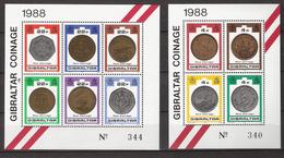 Gibraltar 1989 New Coins From 1988  Mi Bloc 13-14, MNH(**) - Gibraltar