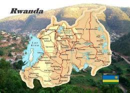 AK Ruanda Landkarte Rwanda Country Map New Postcard - Ruanda