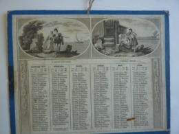 ALMANACH 1850 CALENDRIER ANNUEL 2 Semestriels  Allégorie Départ  Fiancé Heureux  Ménage  Troubadour J'Abreuvoir - Calendriers