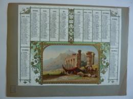 ALMANACH 1869  CALENDRIER ANNUEL  Allégorie Voyage Nomade  Chromo   Arabesque Fleurie Lithographie C. Fassoli - Calendriers