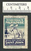 B54-37 CANADA Saint John New Brunswick Tourist Stamp 4c Used Moose - Local, Strike, Seals & Cinderellas