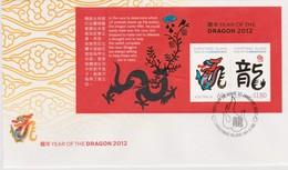 Christmas Island 2012 Year Of The Dragon Miniature Sheet,FDC,A - Christmas Island