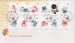 Christmas Island 2012 Year Of The Dragon Zodiac FDC,A - Christmas Island