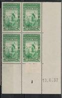 ALGERIE        N° YVERT  :  COIN DATE  N°  127     (  17.06.37 )          NEUF SANS  CHARNIERES - Algérie (1924-1962)