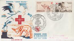 Enveloppe  FDC  1er  Jour  ALGERIE   Paire  CROIX  ROUGE   1957 - FDC