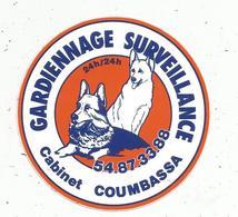 Autocollant , Gardiennage , Surveillance , Cabinet COUBASSA , Chiens , 41 , MER - Adesivi