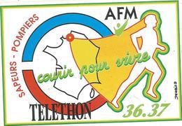 Autocollant , AFM , Courir Pour Vivre , SAPEURS - POMPIERS 36.37 ,TELETHON - Autocollants