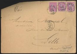 L. En Double Port Frontalier Affr. N°46 X3 De TOURNAI/1891 Pour Lille - R ! - 1884-1891 Léopold II