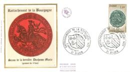 ENVELOPPE FDC PREMIER JOUR D'EMISSION 07/1977 RATTACHEMENT DE LA BOURGOGNE - 1970-1979