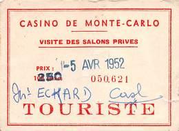 Casino De Monte Carlo 1952 Touriste Entry Ticket - Salons Prives - Casino Cards