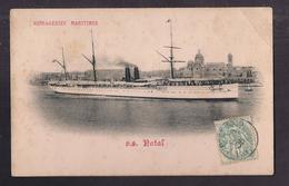 CPA BÂTEAU - PAQUEBOT - S.S. NATAL - Messageries Maritimes - TB PLAN NAVIRE Rentrant Port De Marseille 1905 DALMOUTH - Paquebots