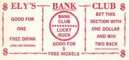 Bank Club Casino - Ely, NV - Coupon Sheet (blank Reverse) - Advertising