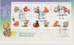 Christmas Island 2016 Year Of The Monkey Zodiac FDC,A - Christmas Island