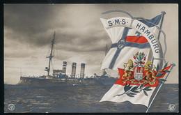 Foto AK/CP Flagge  SMS Hamburg    Ungel/uncirc.1908  Erhaltung/Cond. 1-  Nr. 00606 - Warships