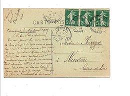 OBLITERATION DE DEMIGNY SAONE ET LOIRE 1919 SUR CARTE - Postmark Collection (Covers)