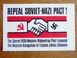 Stamp Repeal Soviet-nazi Pact! Secret 1939 Molotov Ribbentrop Pact Russian Occupation Estonia Latvia Lithuania Swastika - Estonia