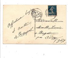 OBLITERATION DE GENOLAC GARD 1920 - Marcophilie (Lettres)