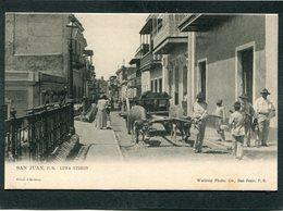 CPA - SAN JUAN - Luna Street, Animé - Attelage De Boeufs  (dos Non Divisé) - Puerto Rico