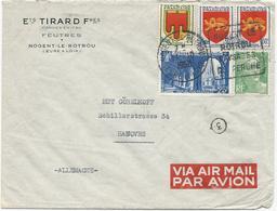 LETTRE PAR AVION POUR L'ALLEMAGNE 1950 AVEC 5 TIMBRES TYPES BLASONS / GANDON / SAINT WANDRILLE - Postmark Collection (Covers)