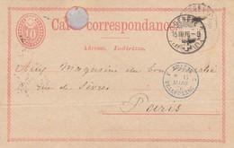 CARD SWITZERLAND 1876. GENEVE TO FRANCE ENTREE SUISSE BELLEGARDE - Ohne Zuordnung