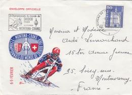 COVER SWITZERLAND SKIBOB MONTANA-CRANS TO FRANCE - Postzegels
