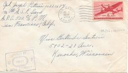 APO 502 Nouvelle Caledonie Nouméa 1944 Censure Censor Geoffnet Examiner - Nouvelle-Calédonie