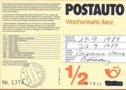 Switzerland, Schweiz, 1984 Postauto Wochenkarte Obersaxen Meirhof  Fine Used - Suisse