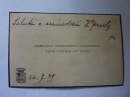 Biglietto Da Visita Contessa Marianna Piccolomini Clementini Nata Cinughi De' Pazzi 1939 - Cartoncini Da Visita