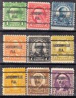 USA Precancel Vorausentwertung Preo, Locals Florida, Jacksonville 257, 9 Diff. Perf. 11x10 1/2 - Vereinigte Staaten