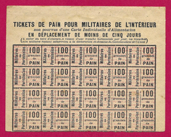 Planche De Tickets De Pain Pour Militaires De L'intérieur En Déplacement De Moins De Cinq Jours - 1914-18