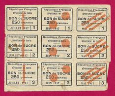 Planche De Neuf Bons De Sucre - Département Du Cantal - Année 1917 - 1914-18