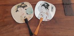 POSTCARD UNUSUAL FAN STAMPS JAPAN NIPPON GEISHA ESPERANTO - Japan