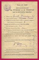 Carte De Rationnement Du Pétrole Et De L'essence Pour La Consommation Domestique - Ville De Paris - 1914-18