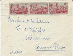 LETTRE POUR LA SUISSE 1939 AVEC BANDE DE 3 TIMBRES CHATEAU DE HENRI IV PAU - Postmark Collection (Covers)