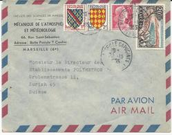 LETTRE PAR AVION POUR LA SUISSE 1955 AVEC 4 TIMBRES TYPES BLASONS / MARIANNE DE MULLER / AJACCIO - Postmark Collection (Covers)