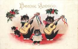 BONNE ANNÉE - Chats Noirs Musiciens, Comique Séries 5338 - Chats