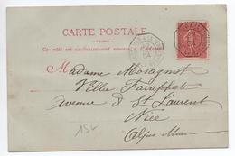 """1904 - CP MESSAGERIES MARITIMES Avec CACHET MARITIME """"MARSEILLE A LA REUNION LV N°1"""" Sur SEMEUSE LIGNEE - Marcophilie (Lettres)"""