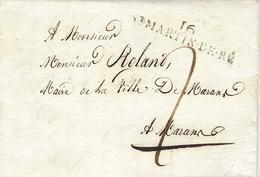 1817- Lettre De 16 / St MARTIN-DE-RE ( Charente Maritime ) 48 X 9 Mm Noir Taxe 2 D Pour Marans - Marcophilie (Lettres)