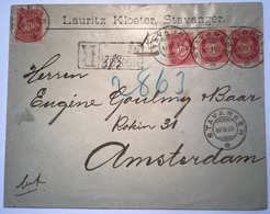 Norway NK UNRECORDED Registered Cover STAVANGER 1900 > Netherlands (Norvége Lettre Amsterdam Brief Norwegen - Briefe U. Dokumente