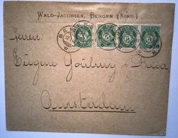 Norway NK UNRECORDED Cover BERGEN 1901 > Netherlands (Norvége Lettre Amsterdam Brief Norwegen - Norwegen