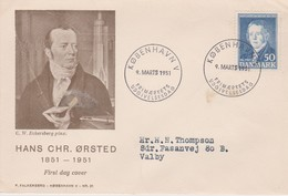 Denmark 1951 Death Centenary Of Hans Oersted  FDC - FDC