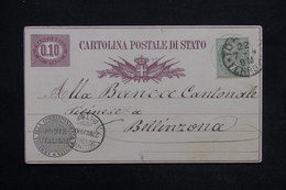 ITALIE - Entier Postal + Complément De Torino Pour Bellinzona En 1878 - L 24305 - 1861-78 Victor Emmanuel II.