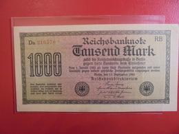 Reichsbanknote 1000 MARK 1922 VARIETE N°1 - [ 3] 1918-1933 : Weimar Republic