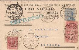 (St.Post.).Regno.V.E.III.Cartolina Intestata Con Affrancatura Per Espresso (21-17) - 1900-44 Vittorio Emanuele III