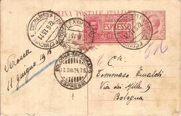 (St.Post.).Regno.V.E.III.C.P. 10c + Espresso 25c.Timbro Di Bologna Telegrafo (92-17) - Interi Postali