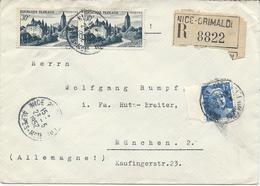 LETTRE RECOMMANDEE 1952 POUR L'ALLEMAGNE AVEC 3 TIMBRES ARBOIS / GANDON - Postmark Collection (Covers)